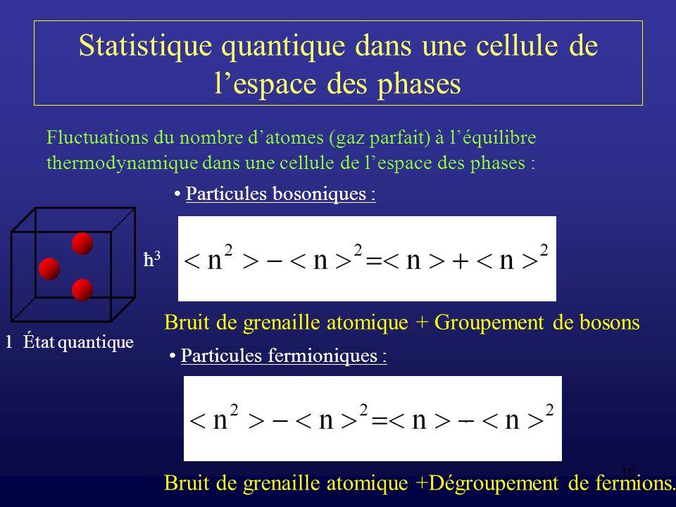 Statistique quantique dans une cellule de l'espace des phases