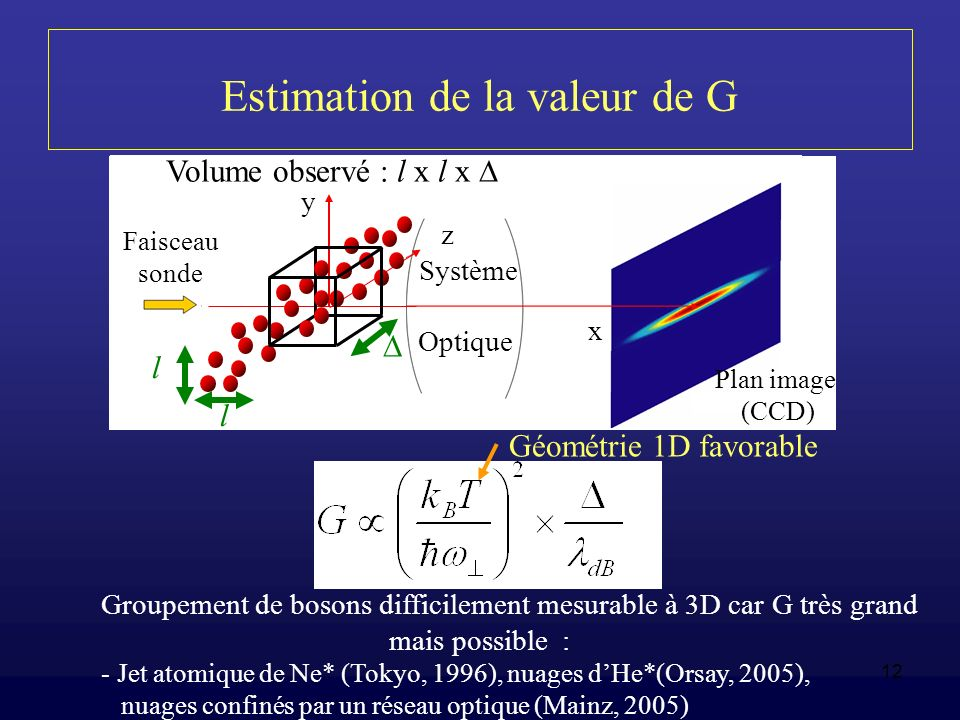 Estimation de la valeur de G