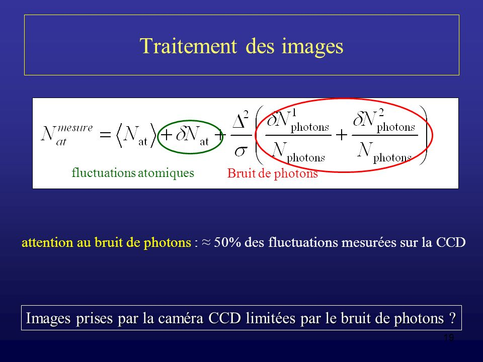 Traitement des images Bruit de photons. fluctuations atomiques. attention au bruit de photons : ≈ 50% des fluctuations mesurées sur la CCD.