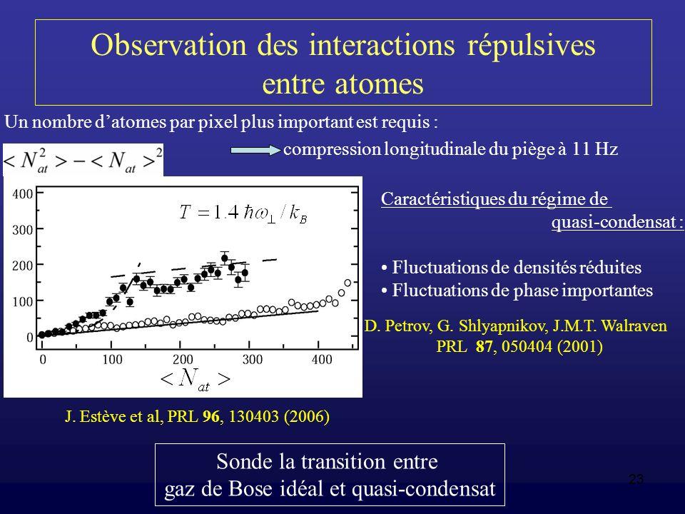 Observation des interactions répulsives entre atomes