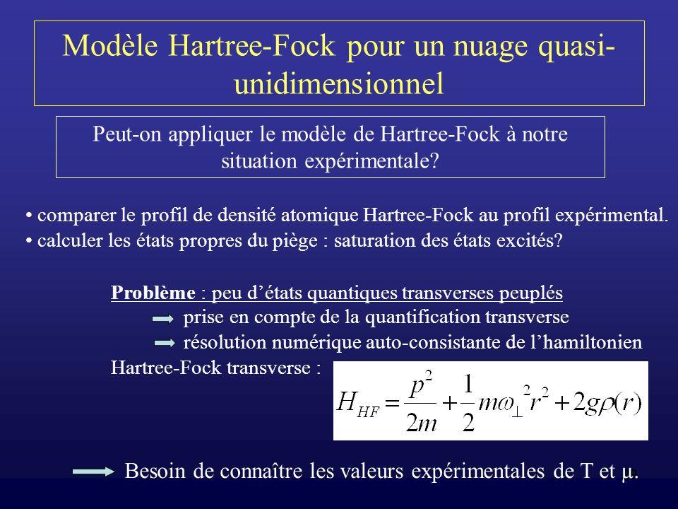 Modèle Hartree-Fock pour un nuage quasi-unidimensionnel