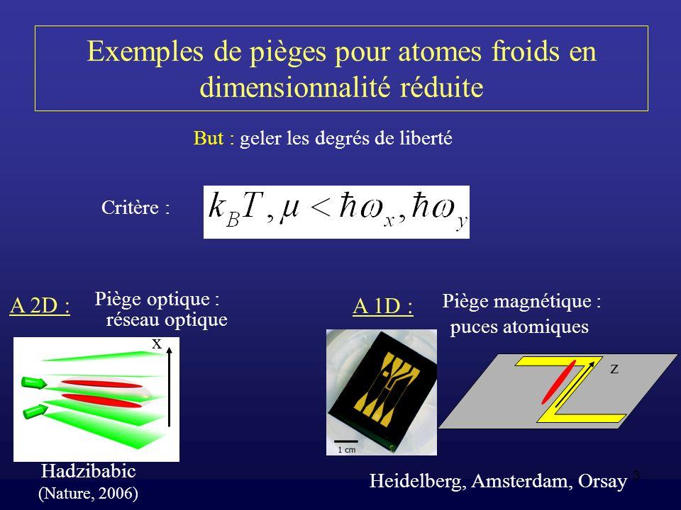 Exemples de pièges pour atomes froids en dimensionnalité réduite