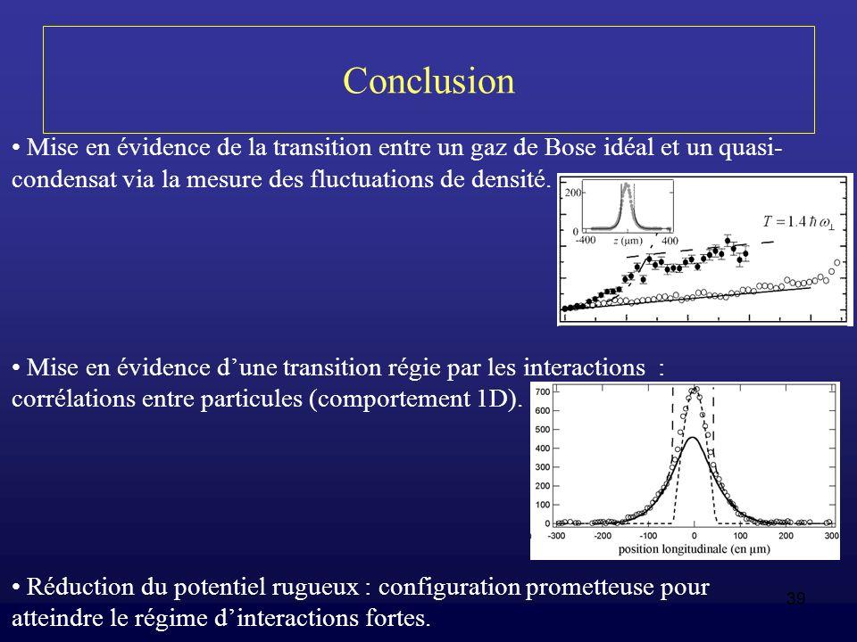 Conclusion Mise en évidence de la transition entre un gaz de Bose idéal et un quasi-condensat via la mesure des fluctuations de densité.
