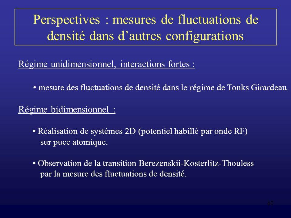 Perspectives : mesures de fluctuations de densité dans d'autres configurations
