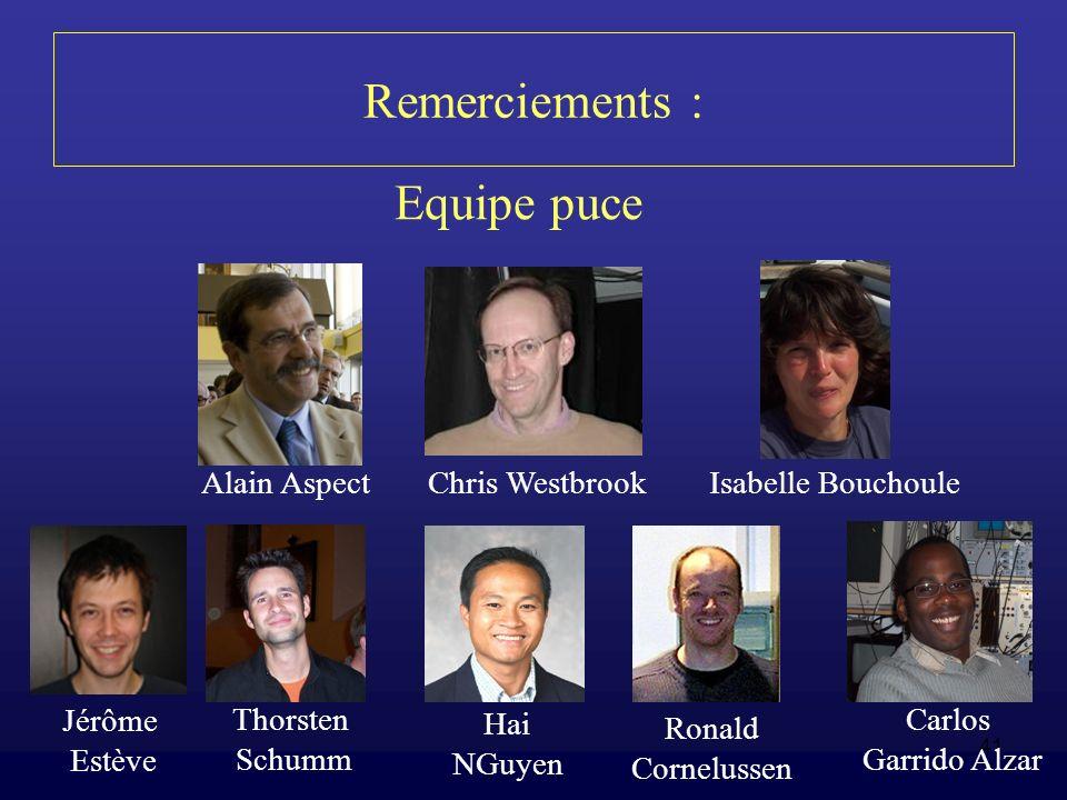 Remerciements : Equipe puce Alain Aspect Chris Westbrook