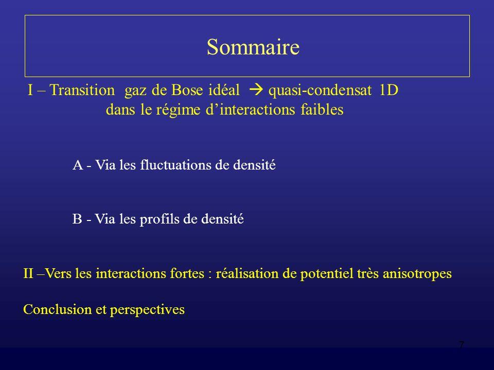 Sommaire I – Transition gaz de Bose idéal  quasi-condensat 1D