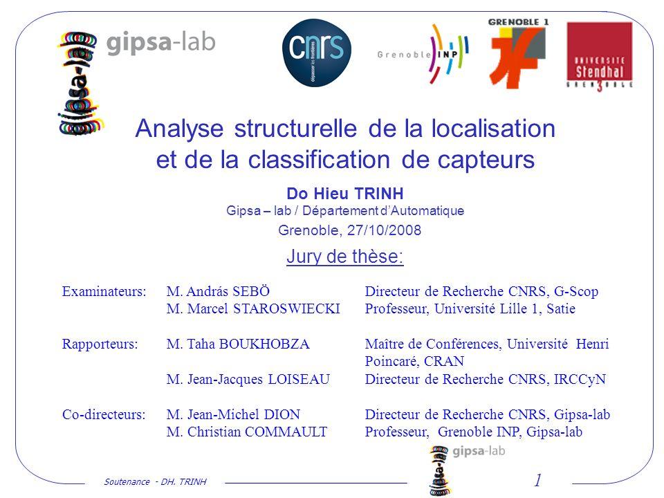 Analyse structurelle de la localisation et de la classification de capteurs Do Hieu TRINH Gipsa – lab / Département d'Automatique Jury de thèse: