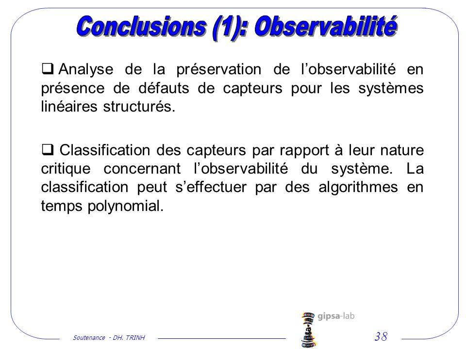 Conclusions (1): Observabilité