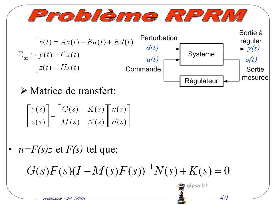 Problème RPRM Matrice de transfert: u=F(s)z et F(s) tel que: