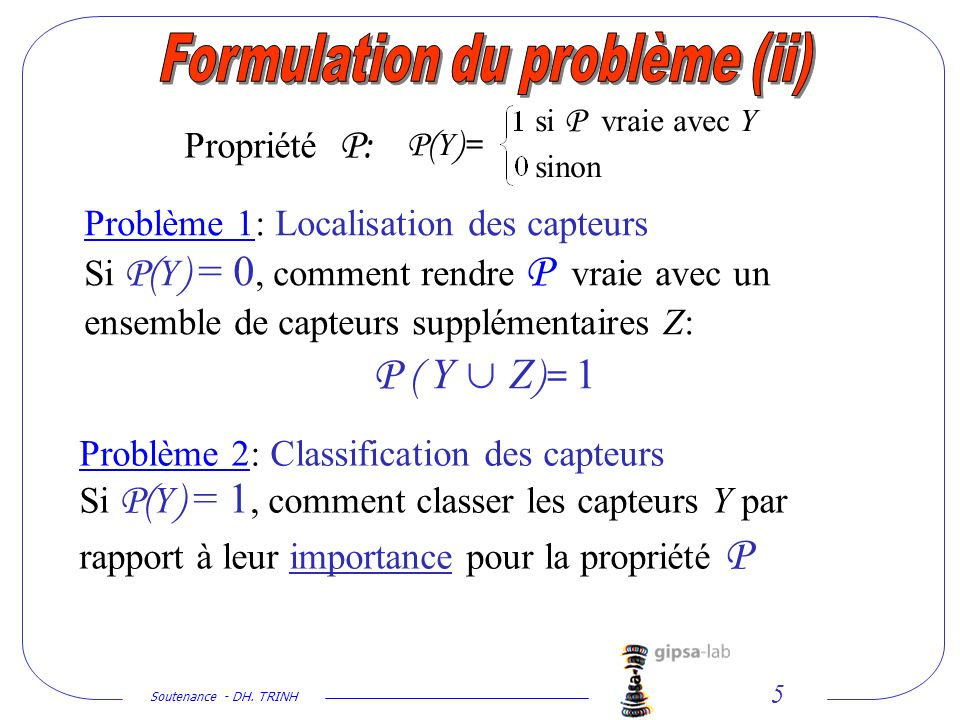 Formulation du problème (ii)
