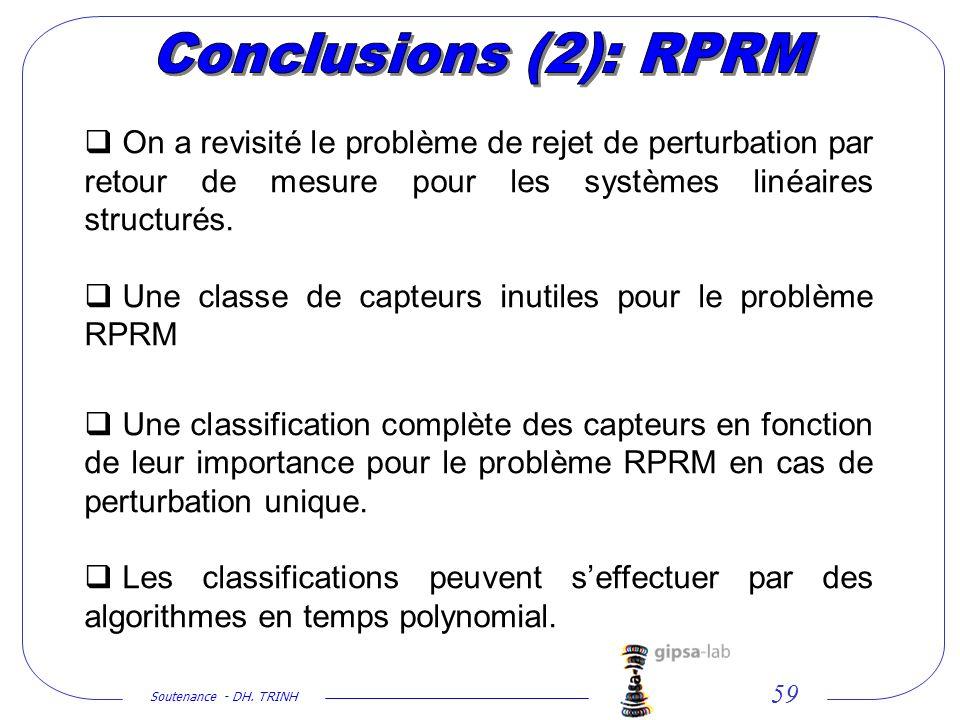 Conclusions (2): RPRM On a revisité le problème de rejet de perturbation par retour de mesure pour les systèmes linéaires structurés.