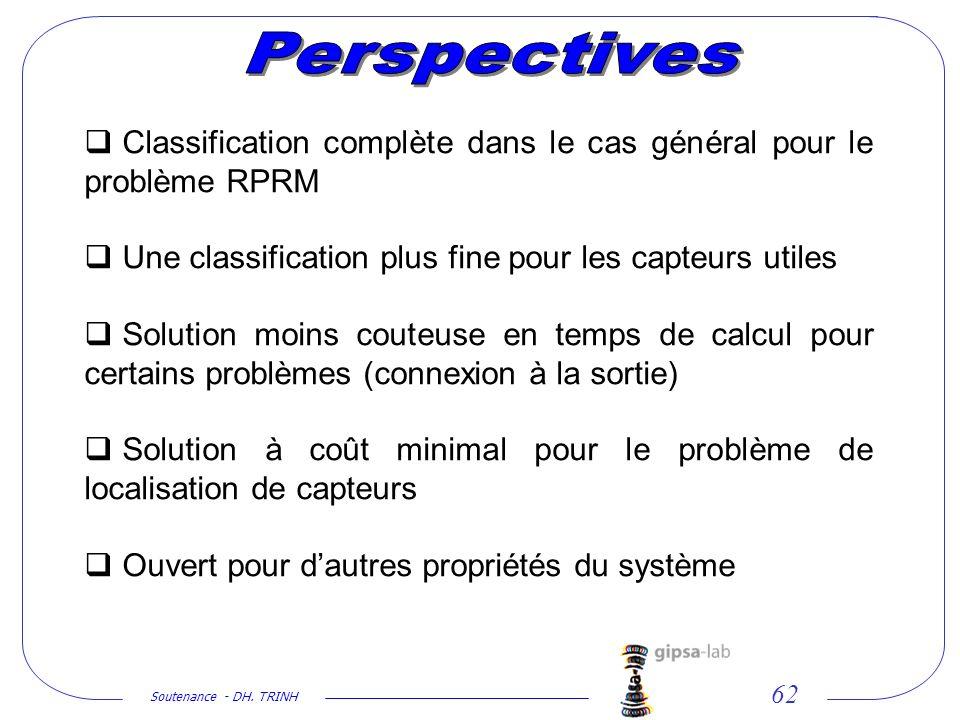 Perspectives Classification complète dans le cas général pour le problème RPRM. Une classification plus fine pour les capteurs utiles.