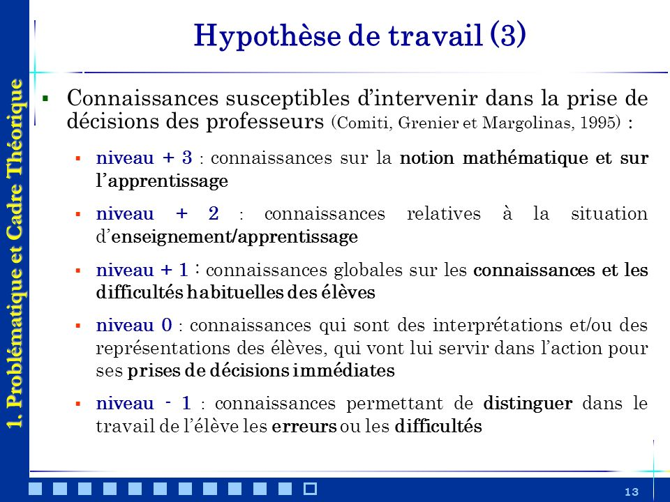 Hypothèse de travail (3)