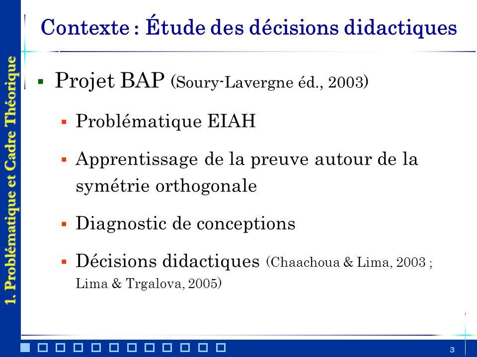 Contexte : Étude des décisions didactiques