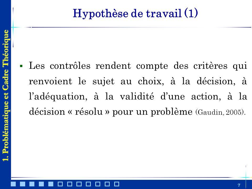 Hypothèse de travail (1)