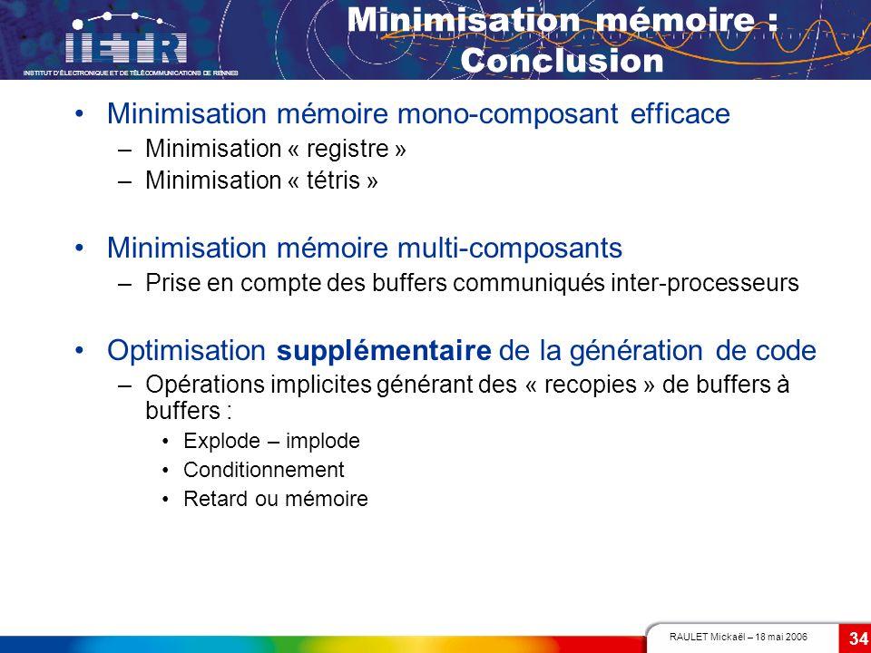 Minimisation mémoire : Conclusion