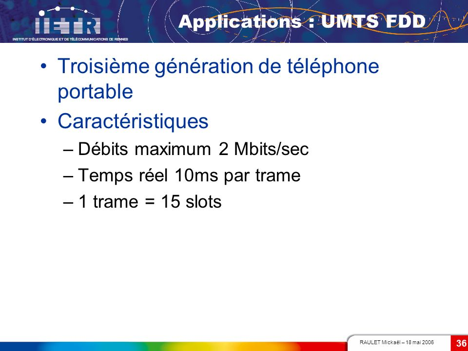 Applications : UMTS FDD