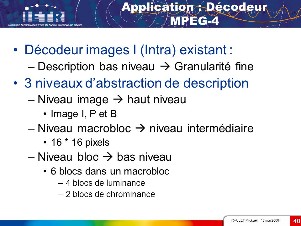 Application : Décodeur MPEG-4