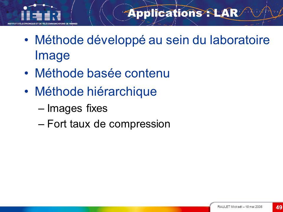 Méthode développé au sein du laboratoire Image Méthode basée contenu