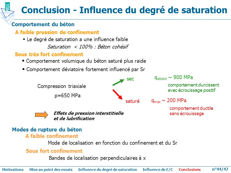 Conclusion - Influence du degré de saturation