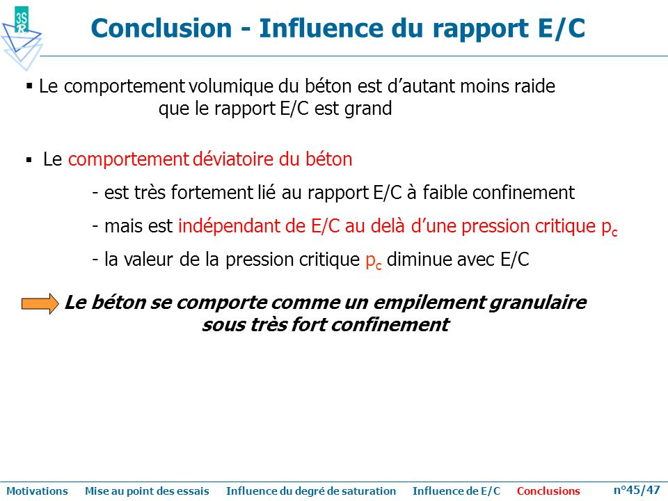 Conclusion - Influence du rapport E/C
