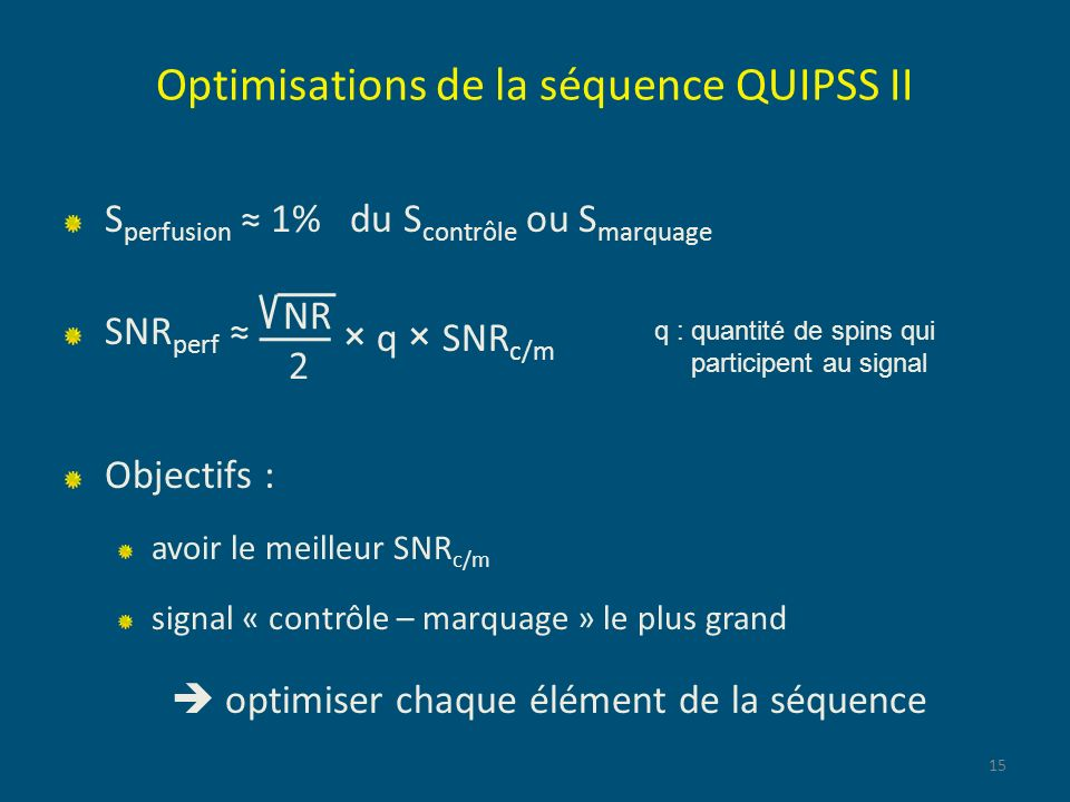 Optimisations de la séquence QUIPSS II