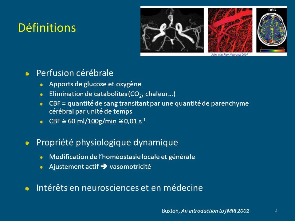 Définitions Perfusion cérébrale Propriété physiologique dynamique