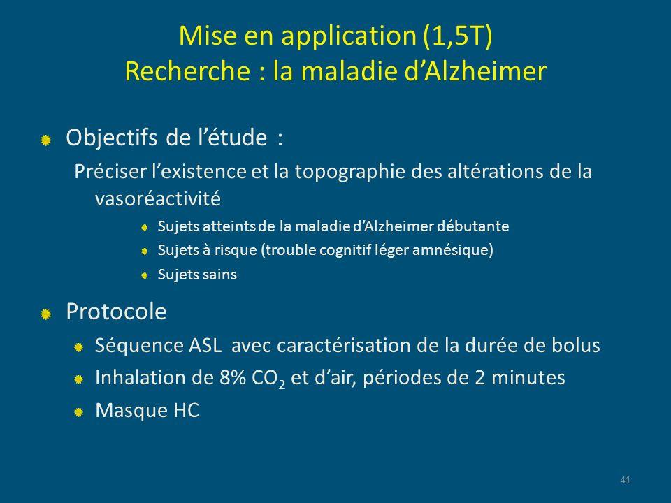 Mise en application (1,5T) Recherche : la maladie d'Alzheimer