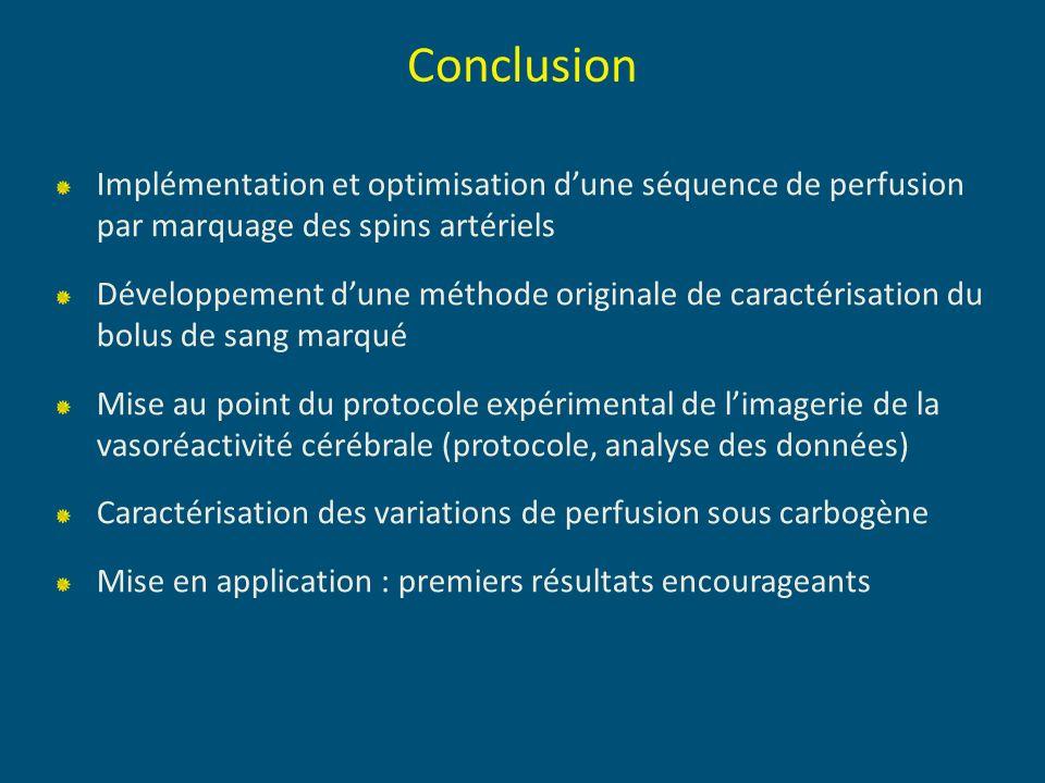 Conclusion Implémentation et optimisation d'une séquence de perfusion par marquage des spins artériels.