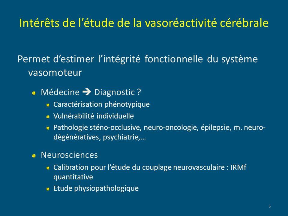 Intérêts de l'étude de la vasoréactivité cérébrale
