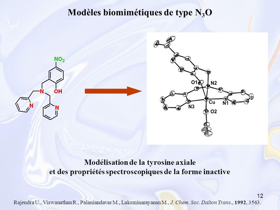Modèles biomimétiques de type N3O