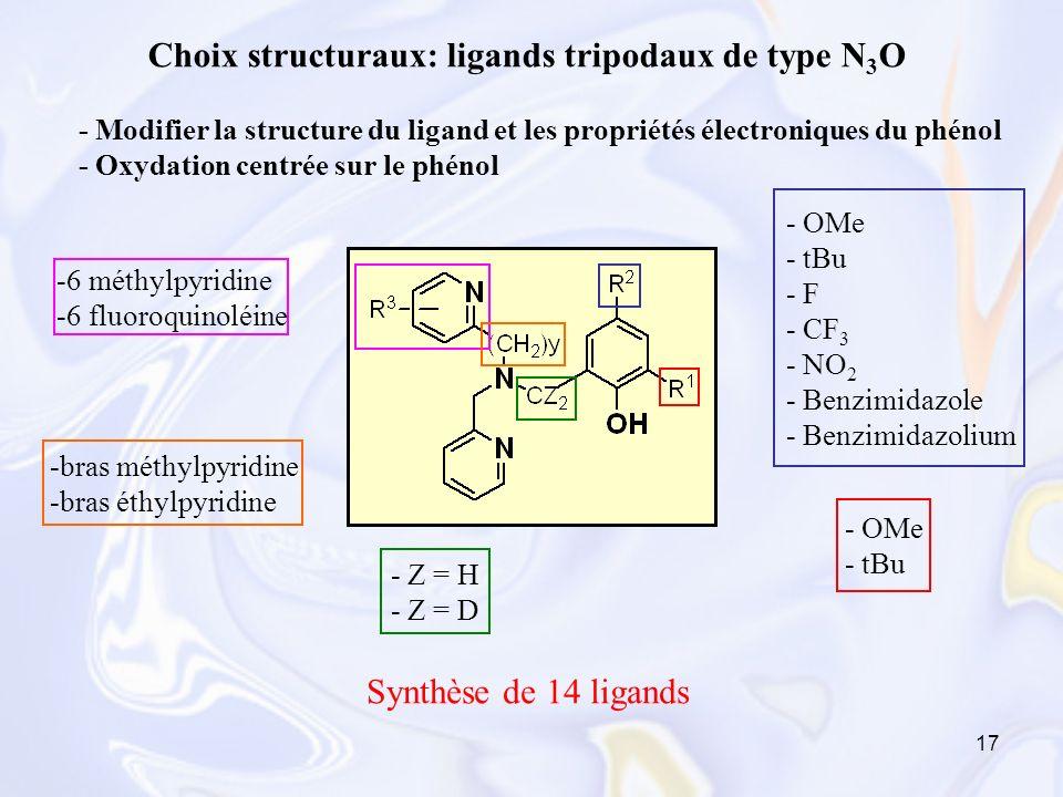 Choix structuraux: ligands tripodaux de type N3O
