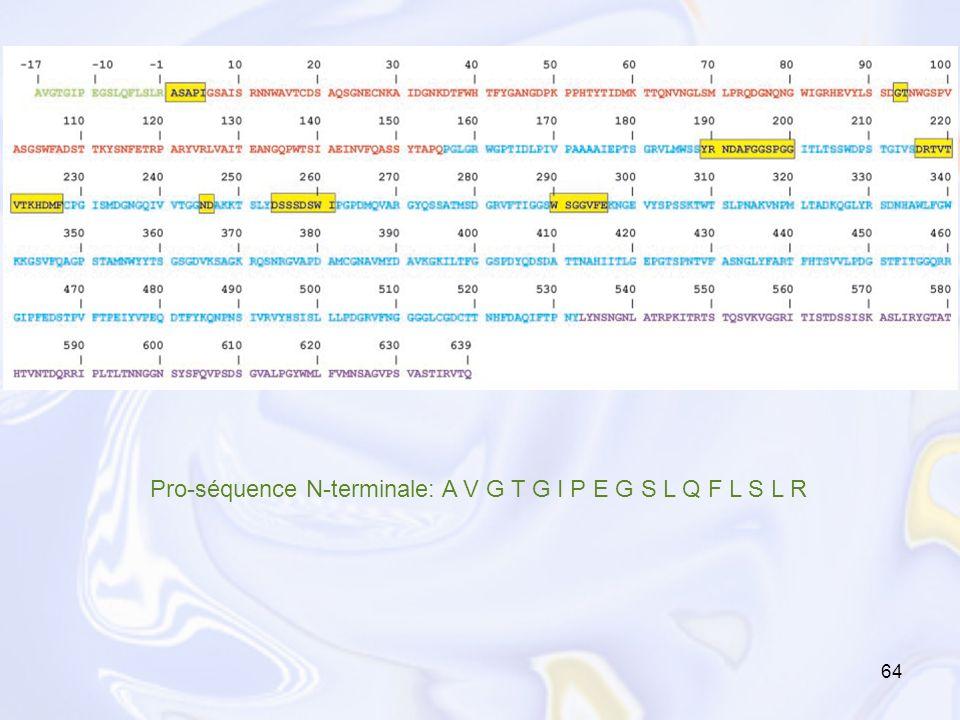 Pro-séquence N-terminale: A V G T G I P E G S L Q F L S L R