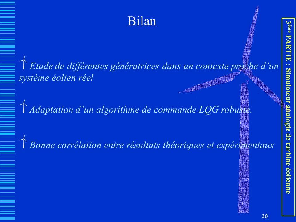 Bilan Etude de différentes génératrices dans un contexte proche d'un système éolien réel. Adaptation d'un algorithme de commande LQG robuste.