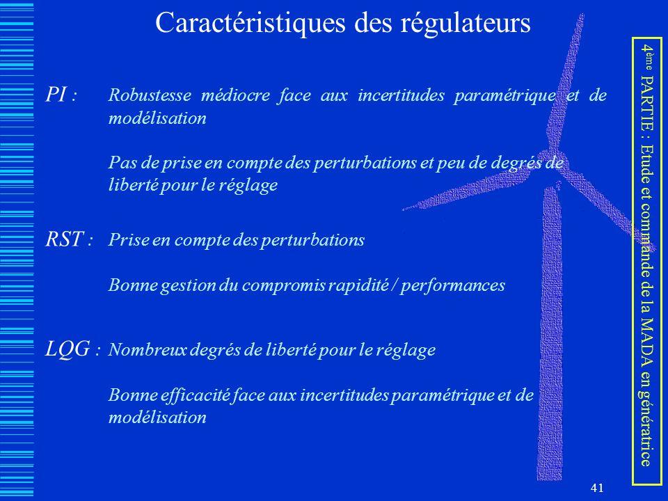 Caractéristiques des régulateurs