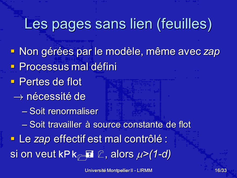 Les pages sans lien (feuilles)