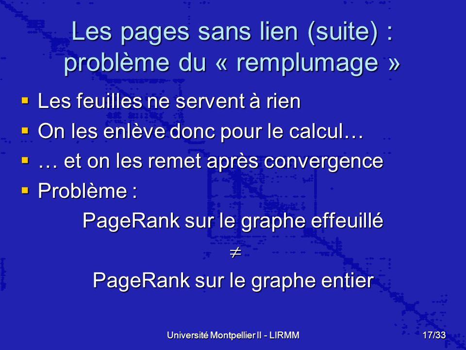 Les pages sans lien (suite) : problème du « remplumage »