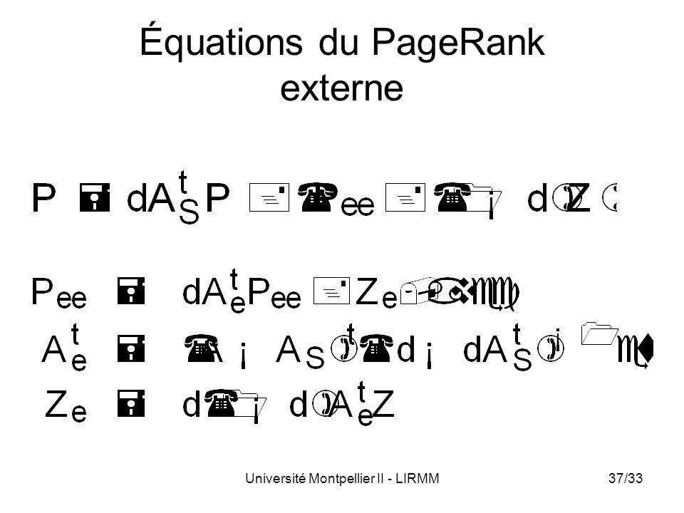Équations du PageRank externe