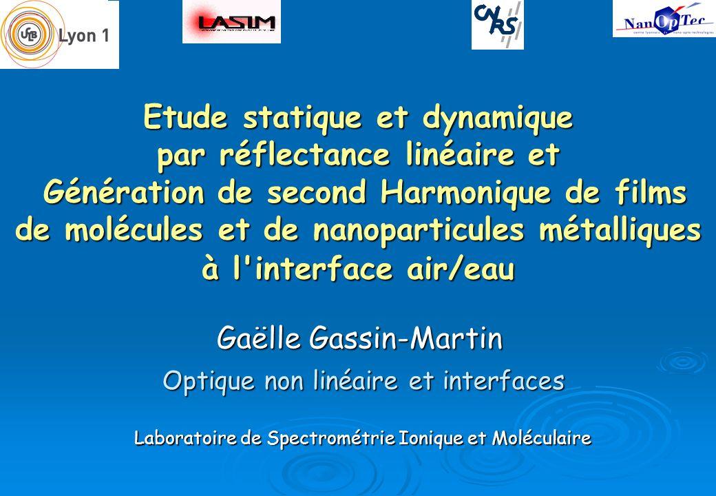 Etude statique et dynamique par réflectance linéaire et Génération de second Harmonique de films de molécules et de nanoparticules métalliques à l interface air/eau
