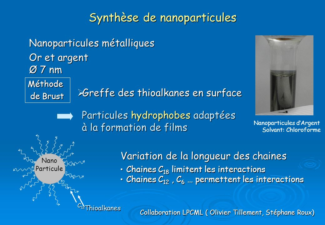 Synthèse de nanoparticules