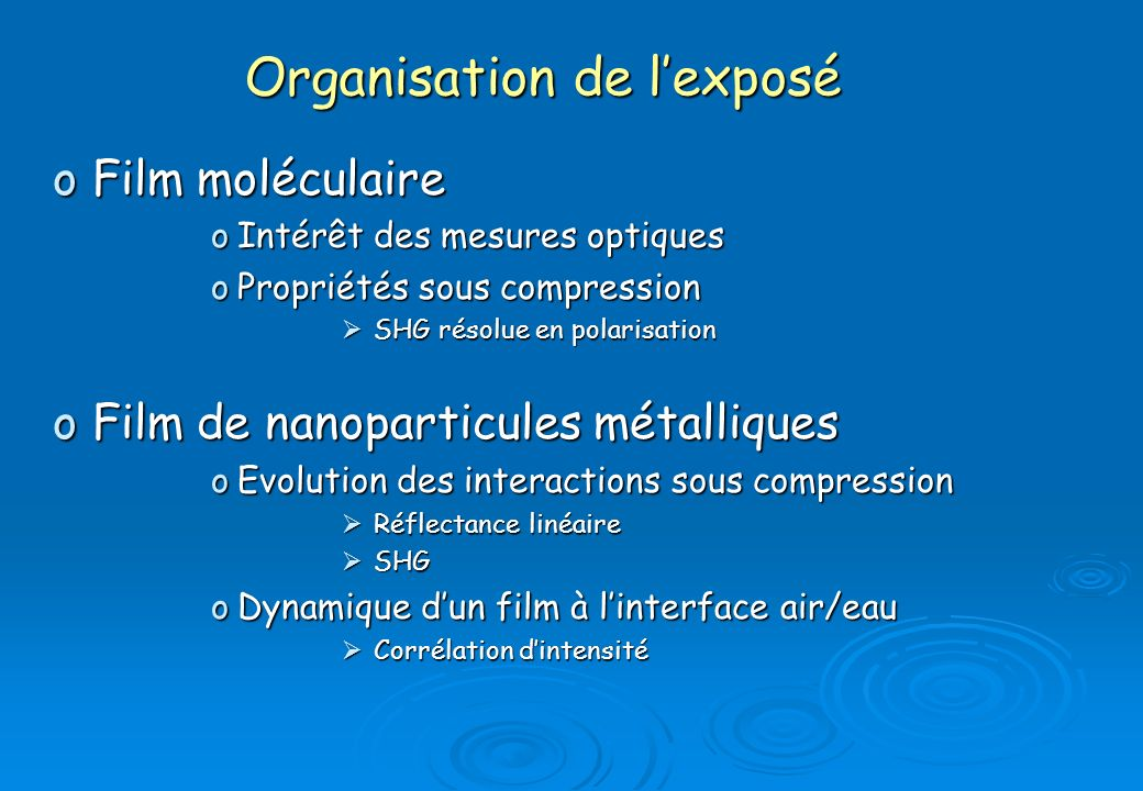 Organisation de l'exposé
