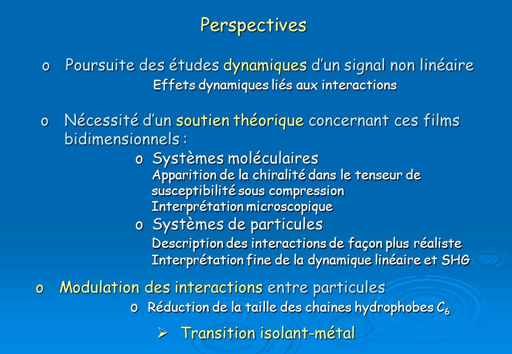Perspectives Poursuite des études dynamiques d'un signal non linéaire