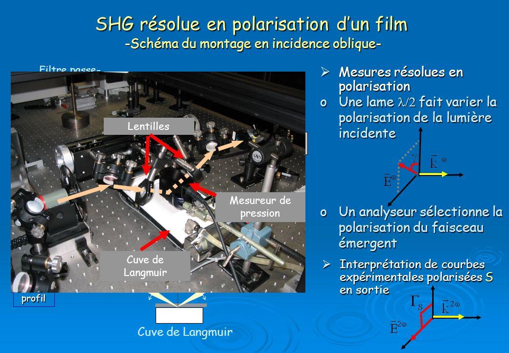 SHG résolue en polarisation d'un film -Schéma du montage en incidence oblique-