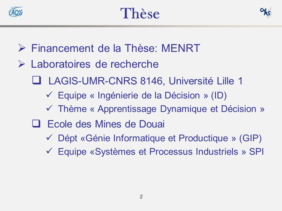 Thèse Financement de la Thèse: MENRT
