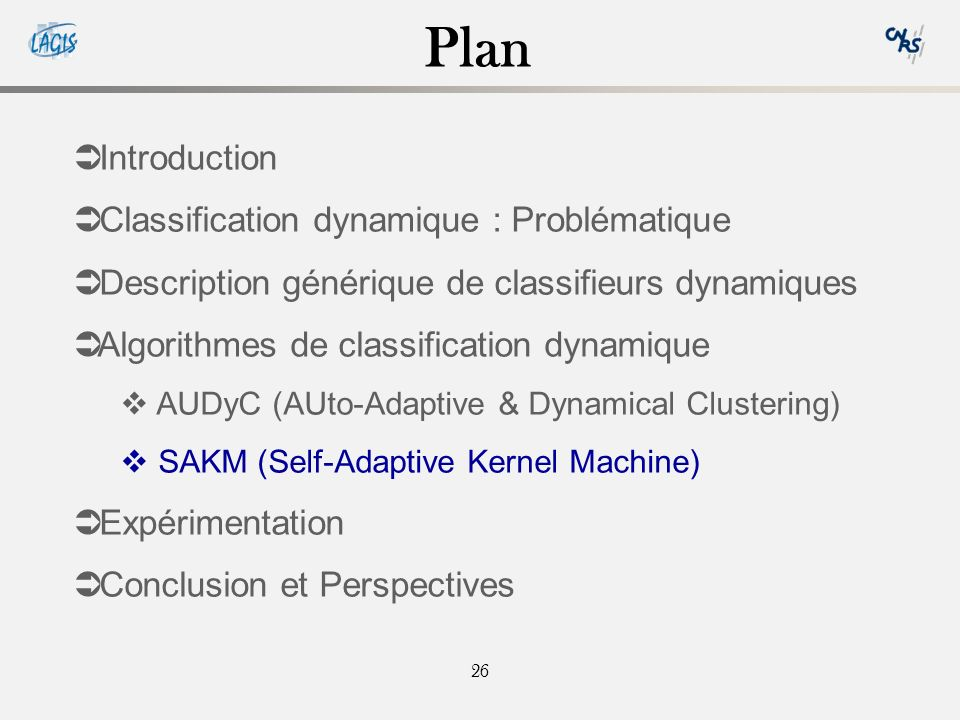 Plan Introduction Classification dynamique : Problématique