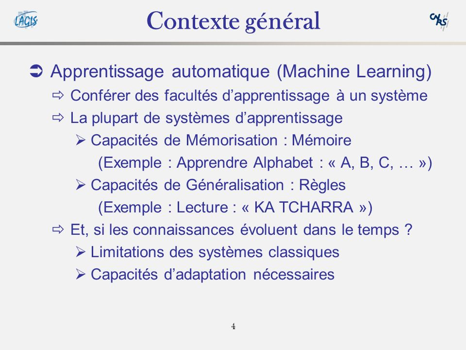 Contexte général Apprentissage automatique (Machine Learning)