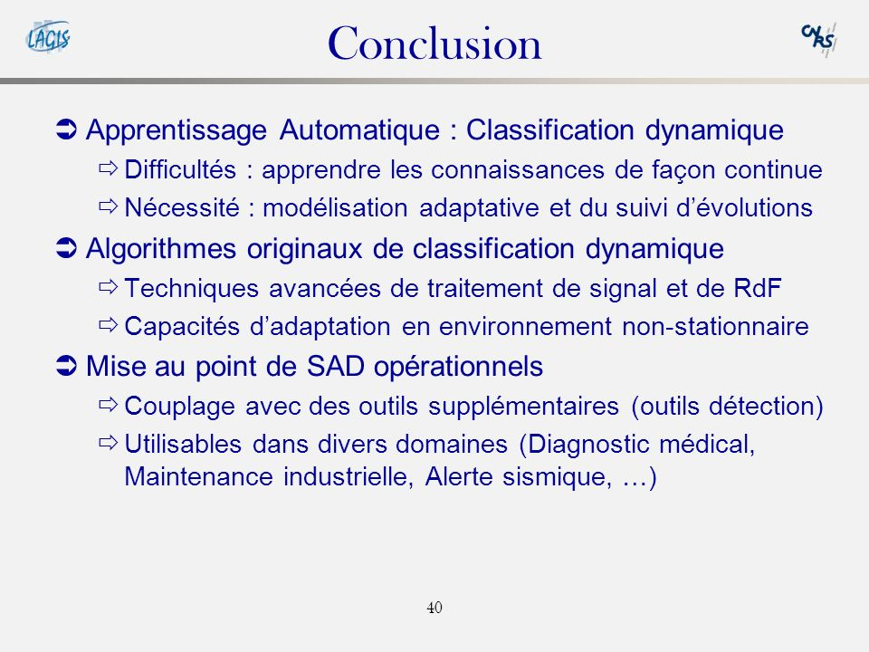 Conclusion Apprentissage Automatique : Classification dynamique