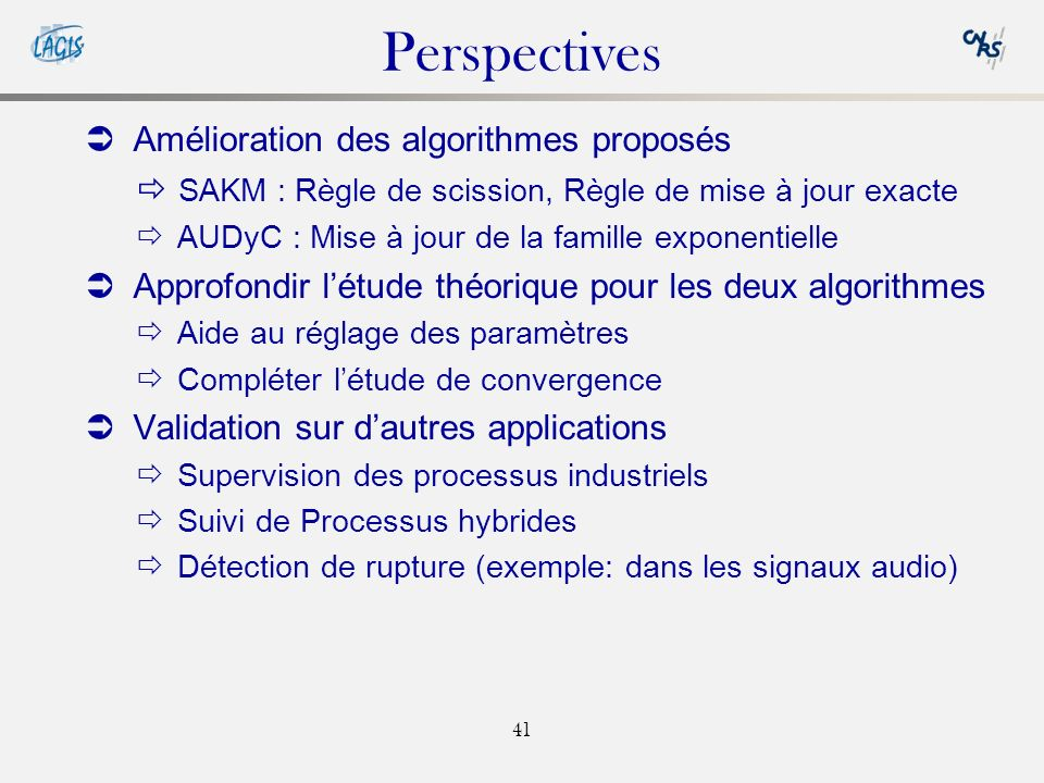 Perspectives Amélioration des algorithmes proposés