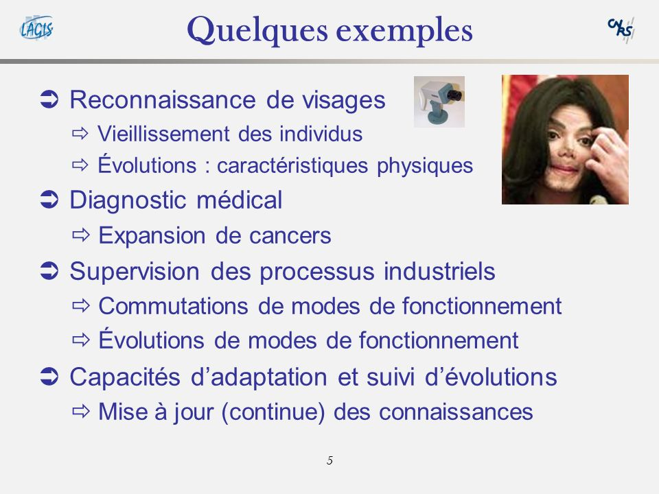 Quelques exemples Reconnaissance de visages Diagnostic médical