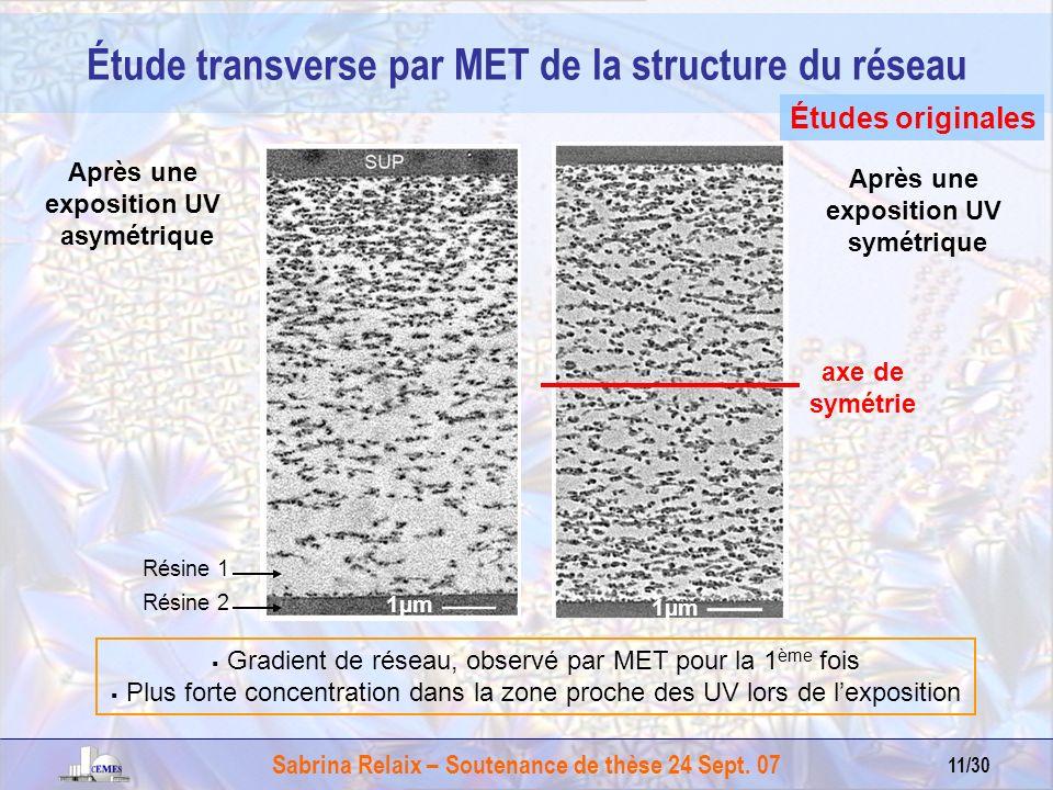 Étude transverse par MET de la structure du réseau